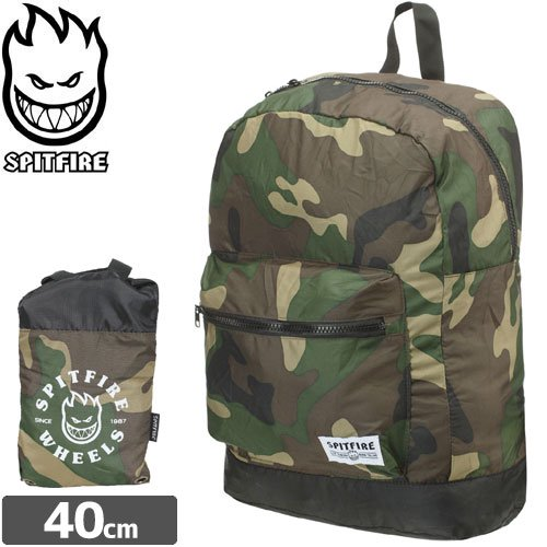 【SPITFIRE スピットファイヤー スケボー バッグ】UNDERGROUND PACKABLE BACKPACK CAMO 折りたたみバッグ NO19