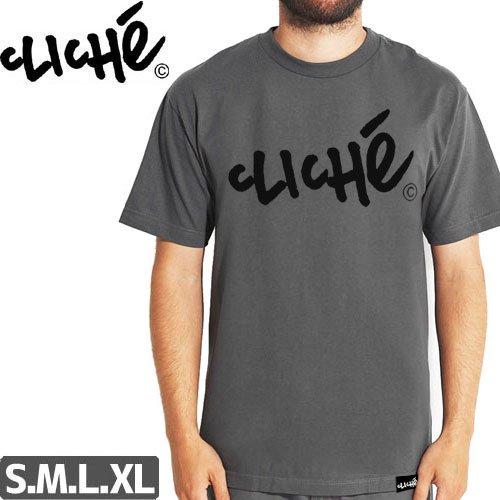 【クリシェ CLICHE スケボー Tシャツ】HANDWRITTEN PRICE PO TEE【チャコール】NO26