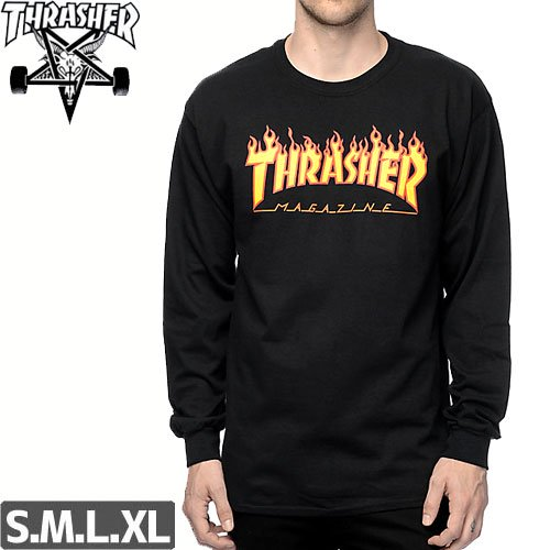 【スラッシャー THRASHER ロングTシャツ】FLAME LOGO US規格【ブラック】NO04
