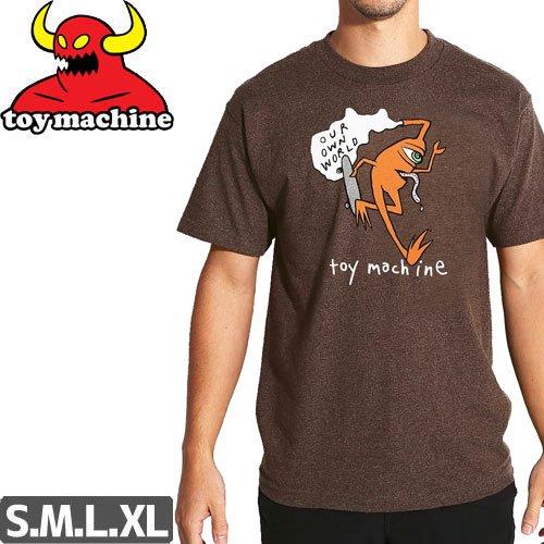 【トイマシーン TOY MACHINE スケボー Tシャツ】OUR WORLD TEE【ブラウン ヘザー】NO242