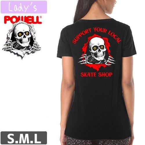 【パウエル POWELL レディース Tシャツ】RIPPER SUPPORT YOUR LOCAL SKATE SHOP【ブラック】NO1