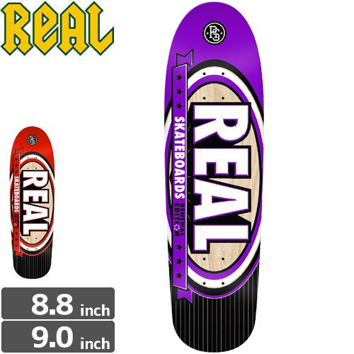 【リアル REAL スケボーデッキ】RENEWAL EDITION DECK CUSTAM SHAPES[9.0インチ]NO117