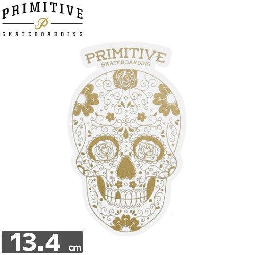 【プレミティブ PRIMITIVE スケボー ステッカー】SKULL GOLD【13.4cm×8.2cm】NO6