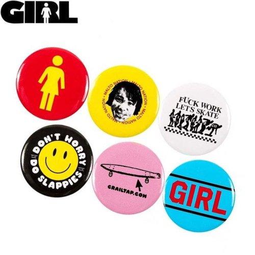 【ガール GIRL スケボー ピンバッチ】BUTTON SET【3cm x 3cm】6個セット No03