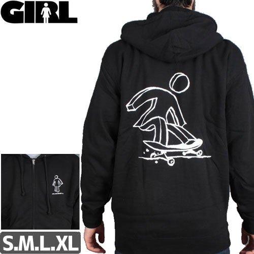 【GIRL ガールスケートボード パーカー】SLAPPY OG ZIP HOODIE【ブラック】NO52