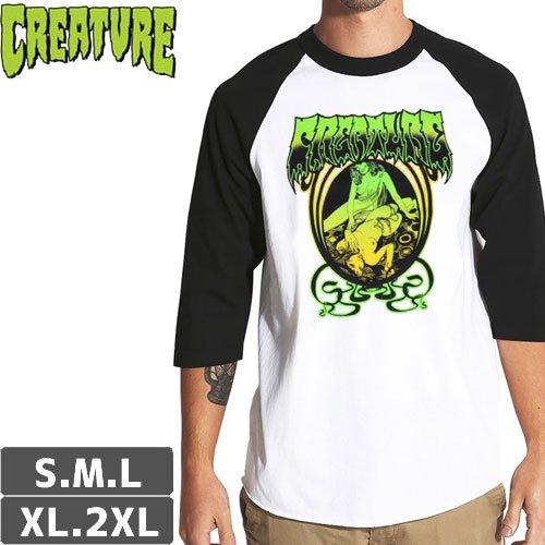 【CREATURE クリーチャー スケボー Tシャツ】PSYCH RAGLAN 3/4 SLEEVE TEE【ホワイト x ブラック】NO122