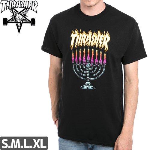 【スラッシャー THRASHER スケボー Tシャツ】(USAモデル)MENORAH TEE【ブラック】NO96