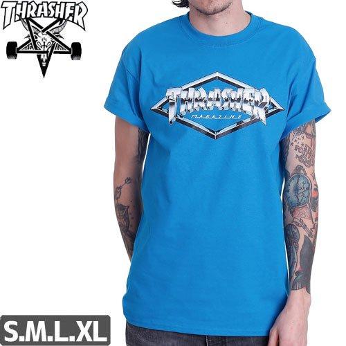 【スラッシャー THRASHER スケボー Tシャツ】US規格 DIAMOND EMBLEM TEE【ブルー】NO98