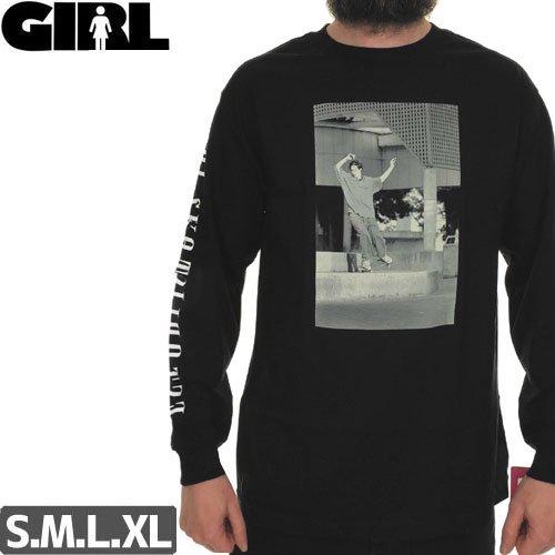 【GIRL ガールスケートボード ロング Tシャツ】NOSE WHEELIE L/S TEE【ブラック】NO5