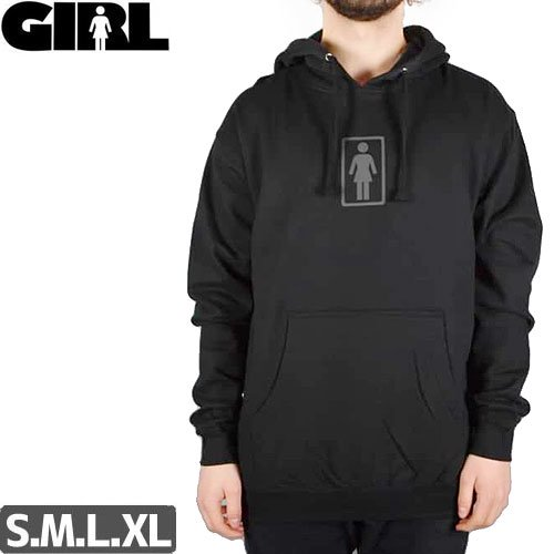 【GIRL ガールスケートボード パーカー】OG PULOVER HOODIE【ブラック】NO53