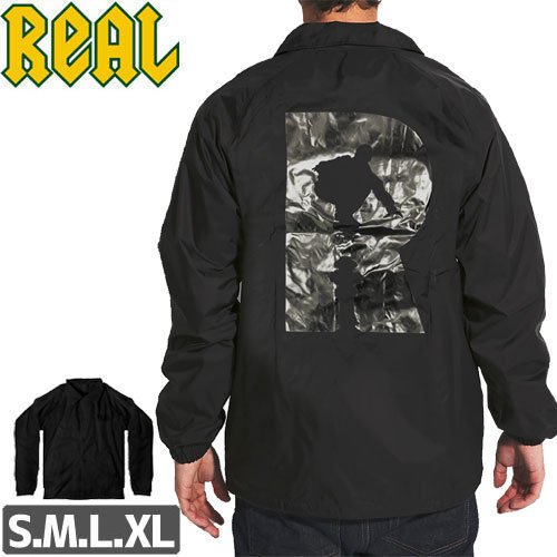 【リアル REAL SKATEBOARDS ジャケット】R WINDBREAKER JACKET【ブラック】NO1
