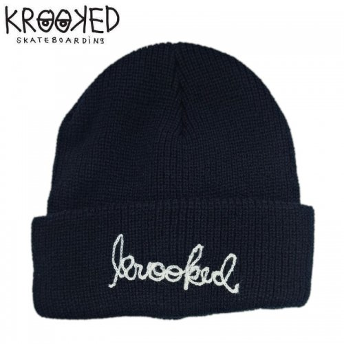 【KROOKED クルックト スケボー ニットキャップ】SIGNATURE EMBROIDERED BEANIE 折り返し【ブラック】NO5