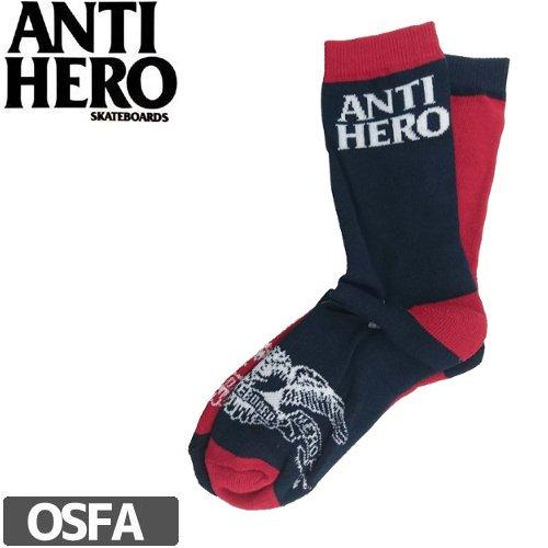 【アンタイヒーロー ANTIHERO スケート ソックス】EAGLE BLKHERO SOCKS【ネイビー×レッド】NO15