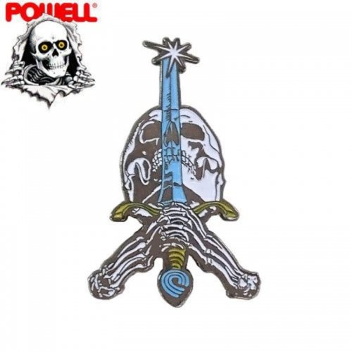 【パウエル POWELL スケボー ピンバッチ】SKULL & SWORD LAPEL PIN【3.8cm x 2.9cm】NO5