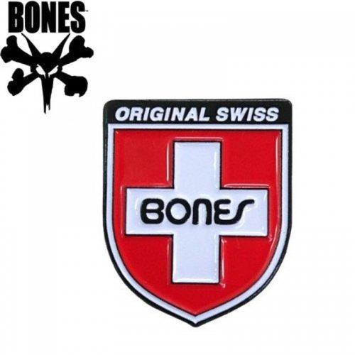 【ボーンズ BONES スケボー ピンバッチ】LAPEL SWISS SHIELD PIN【2.6cm x 2.1cm】NO1