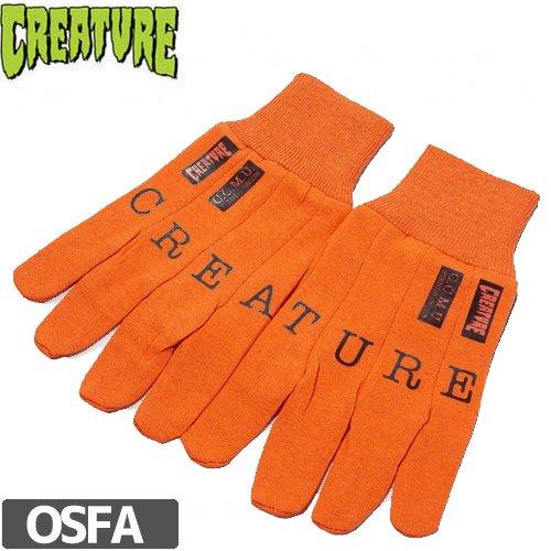 【クリーチャー CREATURE スケボー 手袋】C.C.M.U. WORK GLOVES【オレンジ】NO1