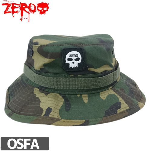 【ZERO ゼロスケートボード キャップ】SINGLE SKULL BUCKET HAT【迷彩 カモ】NO16