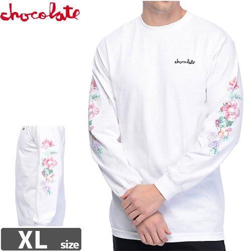 【チョコレート CHOCOLATE スケボー ロングTシャツ】FLORAL CHUNK WHITE LONG SLEEVE【ホワイト】NO5