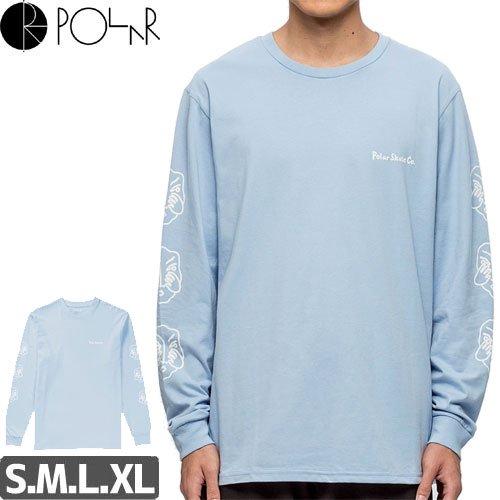 【POLAR ポーラー スケボー ロング Tシャツ】THREE FACES L/S TEE【パウダーブルー】NO1