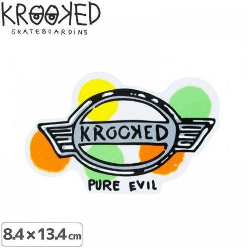 【クルックド KROOKED スケボー ステッカー】PURE EVIL【8.4cmx13.4cm】NO30