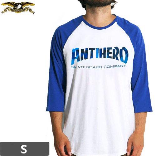 【アンチヒーロー ANTIHERO スケボーTシャツ】SKATE CO CAMO RAGLAN 3/4 TEE【ホワイト×ブルー】NO84