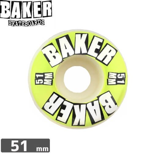 【ベーカー BAKER スケボー ウィール】BRAND LOGO LIME WHEEL【51mm】【99A】NO11