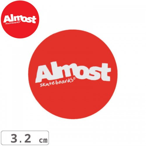 【ALMOST オルモスト ステッカー】RED STICKER【3.2cm x 3.2cm】NO100