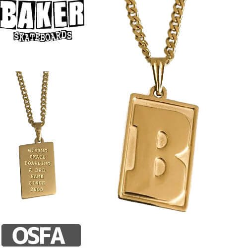 【BAKER ベーカー スケボー アクセサリー】CAPITAL B NECKLACE【ゴールド】NO1