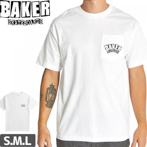 【BAKER ベーカー スケボー Tシャツ】ARCH LOGO POCKET TEE【ホワイト】NO60