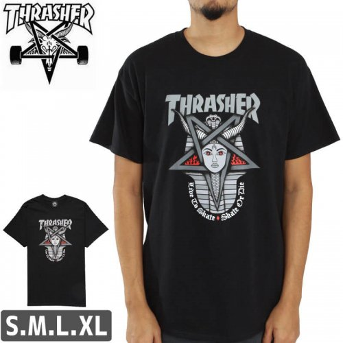 【スラッシャー Tシャツ THRASHER スケボー】Goddess T-Shirt【ブラック】NO100
