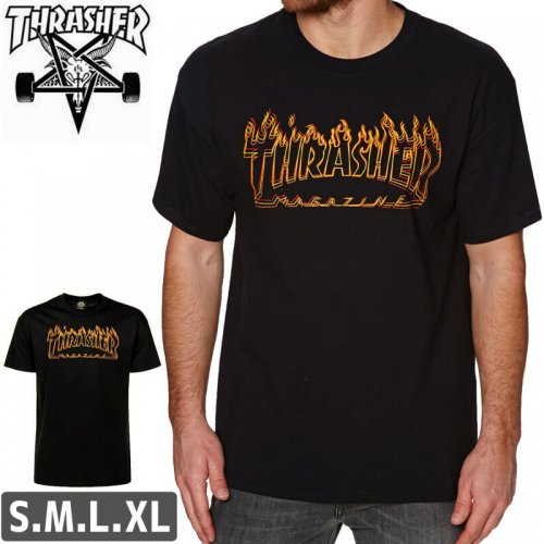 【スラッシャー Tシャツ THRASHER スケボー】(USAモデル)RICHTER T-SHIRT【ブラック】NO101