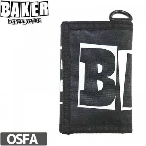 【BAKER ベーカー スケボー 財布】BRAND LOGO TRI-FOLD WALLET【ブラック】NO1