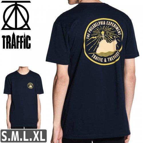 【スケボー Tシャツ THEORIES セオリーズ トラフィック TRAFFIC】PROJECT RAINBOW TEE【ネイビー】NO03