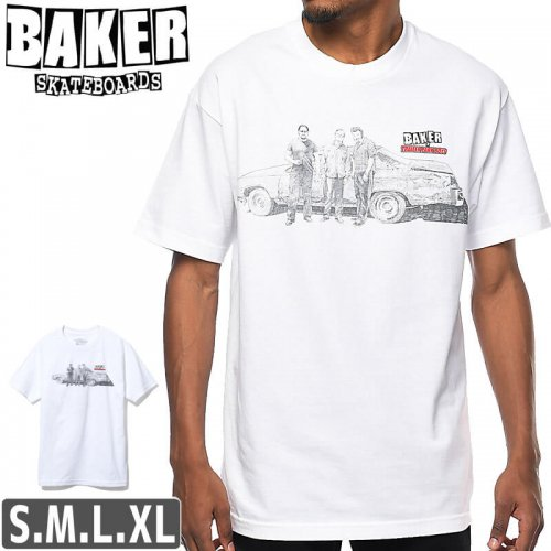 【BAKER ベーカー スケボー Tシャツ】Baker x Trailer Park Boys White T-Shirt【ホワイト】NO62