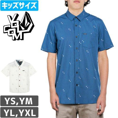 【VOLCOM ボルコム キッズ Yシャツ】FLOYD WOVEN SS SHIRT ボーイズサイズ【ブルー】【ホワイト】NO22