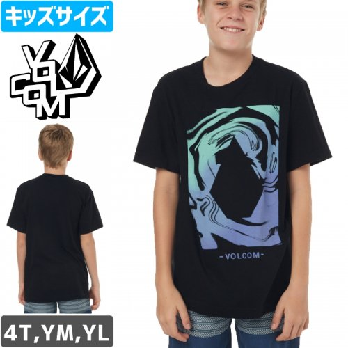 【VOLCOM ボルコム キッズ  リトルユース Tシャツ】GLITCH STONE YOUTH TEE【ブラック】NO73