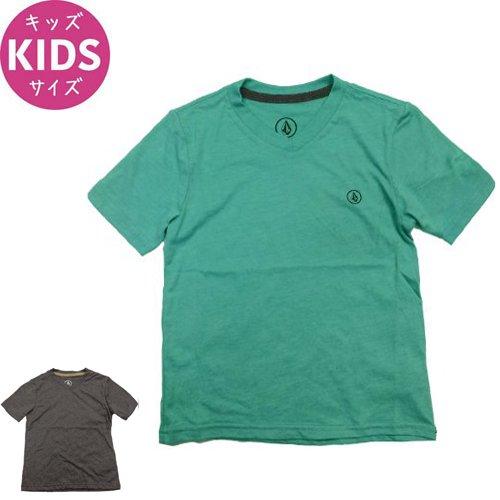 【VOLCOM ボルコム キッズ Tシャツ】CIRCLE STPL S/S YOUTH VNECK TEE【ヘザーブラック】【サファイアブルー】NO79