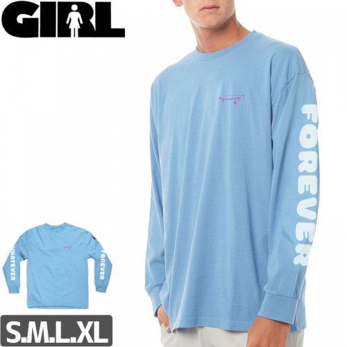 【GIRL ガールスケートボード ロング Tシャツ】WHATEVER L/S TEE【カロライナブルー】NO8