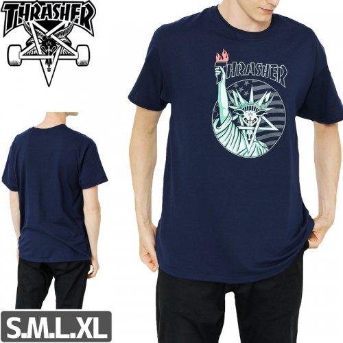 【スラッシャー Tシャツ THRASHER スケボー】LIBERTY GOAT T-SHIRT【ネイビー】NO102