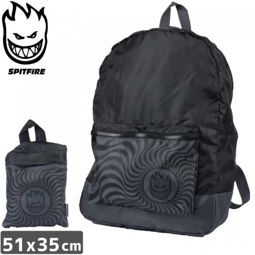 【SPITFIRE スピットファイヤー スケボー バッグ】BIGHEAD SWIRL BLACK PACKABLE BACKPACK 折りたたみバッグ NO21