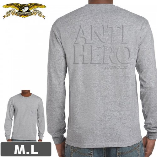 【アンタイヒーロー ANTIHERO スケボー ロンT】DROP HERO L/S T-SHIRT【ヘザーグレー】NO03