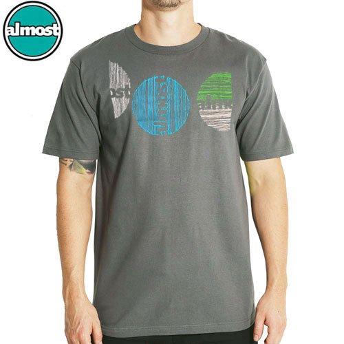 【ALMOST オルモスト スケートボード Tシャツ】LINE CIRCLE TEE【チャコール】NO19