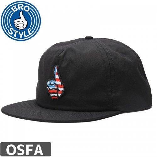 1週間SALE!【BRO STYLE ブロスタイル スケボー キャップ】USA UNSTRUCTURED CAP【ブラック】 NO4
