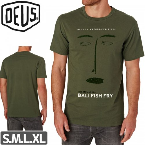【DEUS EX MACHINA デウス スケボー Tシャツ】FISH FLY TEE【セージグリーン】NO4