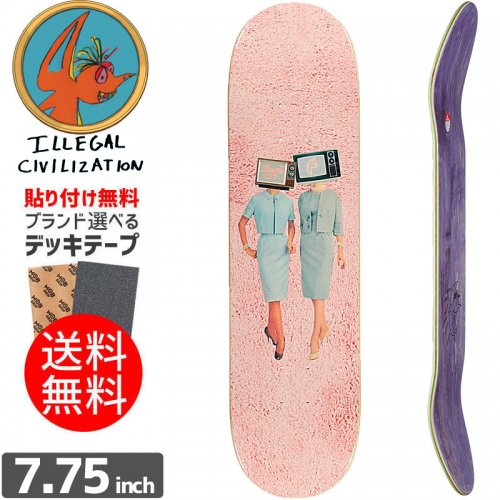 【ILLEGAL CIVILIZATION イリーガル シヴィライゼーション スケートボード デッキ】PINK TV HEADS[7.75インチ]NO4