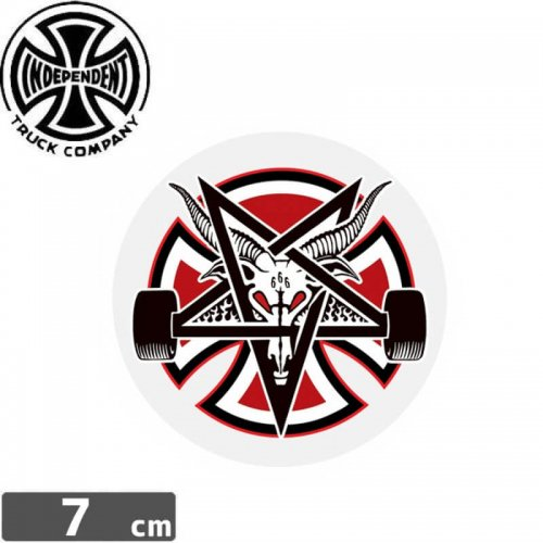 【インディペンデント INDEPENDENT スケボー ステッカー】INDY X THRASHER PENTAGRAM CROSS【7cm x 7cm】NO101