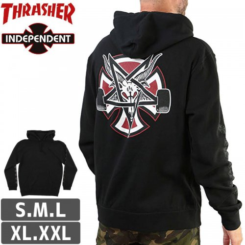 【インディペンデント スラッシャー パーカー】INDEPENDENT x THRASHER PENTAGRAM CROSS PULLOVER HOODIE NO19