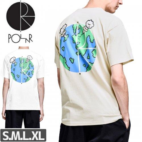 【POLAR ポーラー スケボー Tシャツ】WORLD FILL LOGO TEE【サンド】【ホワイト】NO18