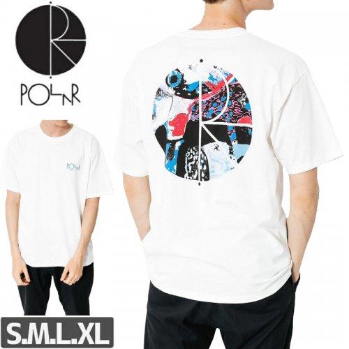 【POLAR ポーラー スケボー Tシャツ】ORCHID FILL LOGO  TEE【ホワイト】NO19