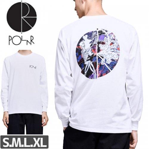 【POLAR ポーラー スケボー Tシャツ】SKELETON FILL LOGO L/S TEE【ホワイト】NO14
